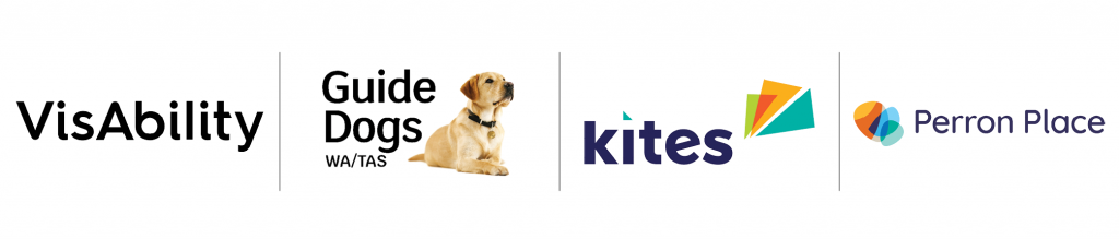 Everability Group logos listed in a row: VisAbility, Guide Dogs WA/TAS, Kites, Perron Place